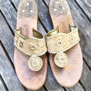 Jack Rogers Cork and Gold Jacks Sandal 8